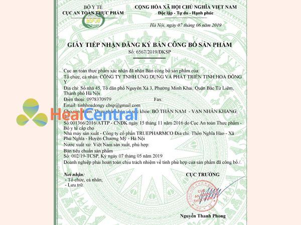 Giấy chứng nhận đăng ký lưu hành sản phẩm Bổ thận nam Vạn Nhân Khang