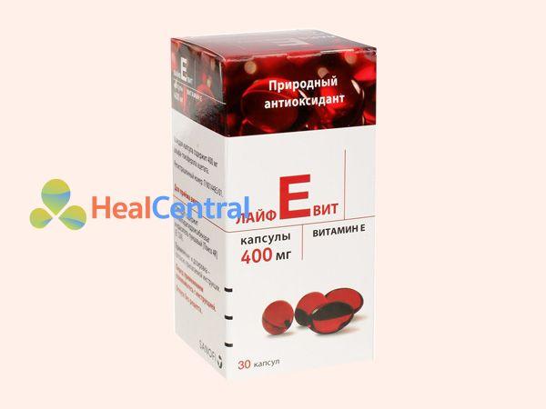 Hình ảnh hộp Vitamin E đỏ Nga