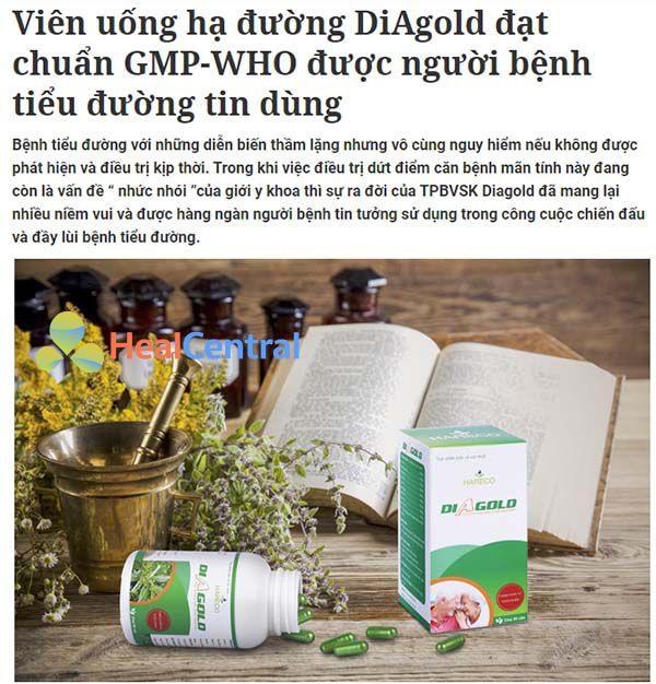 Báo Tiền Phong đưa tin về Diagold được người bệnh tiểu đường tin dùng