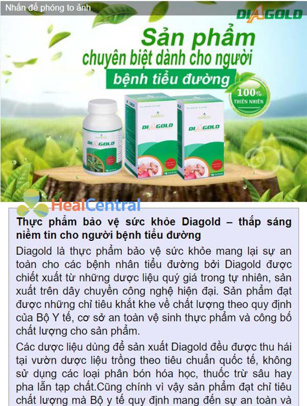 Báo Dân Trí thông tin về sản phẩm Diagold - Tháp sáng niềm tin cho người bị tiểu đường