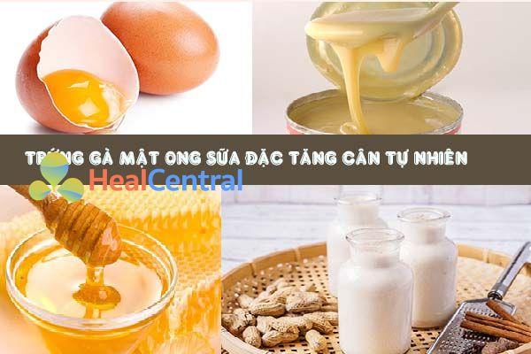 Các nguyên liệu để làm trứng gà mật ong sữa đặc