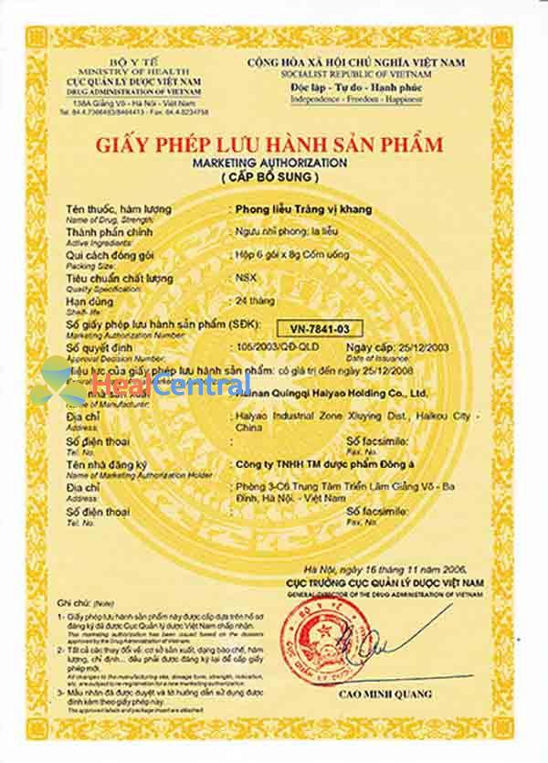 Giấy phép lưu hành Tràng Vị Khang