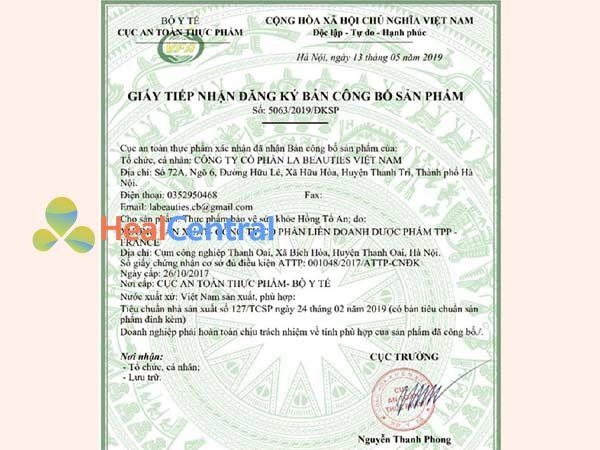 Giấy phép chứng nhận công bố sản phẩm Hồng Tố An