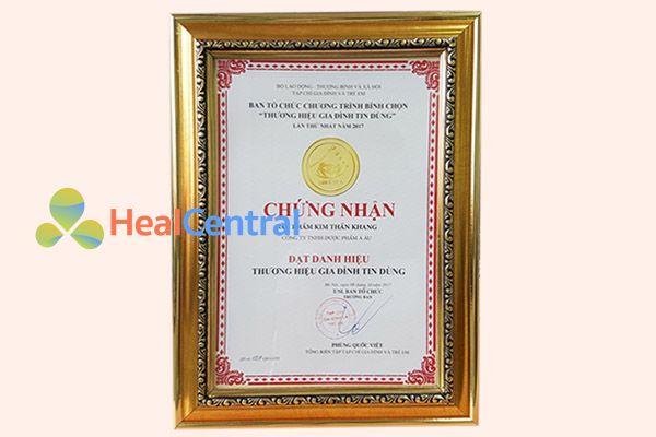 Kim Thần Khang đạt danh hiệu Gia đình tin dùng