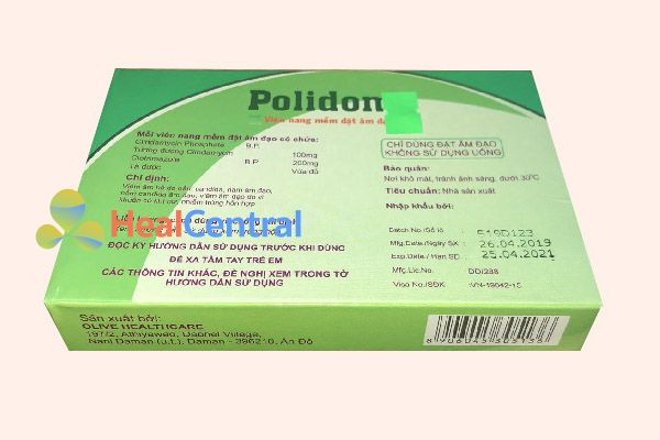 Mặt sau hộp thuốc Polidom