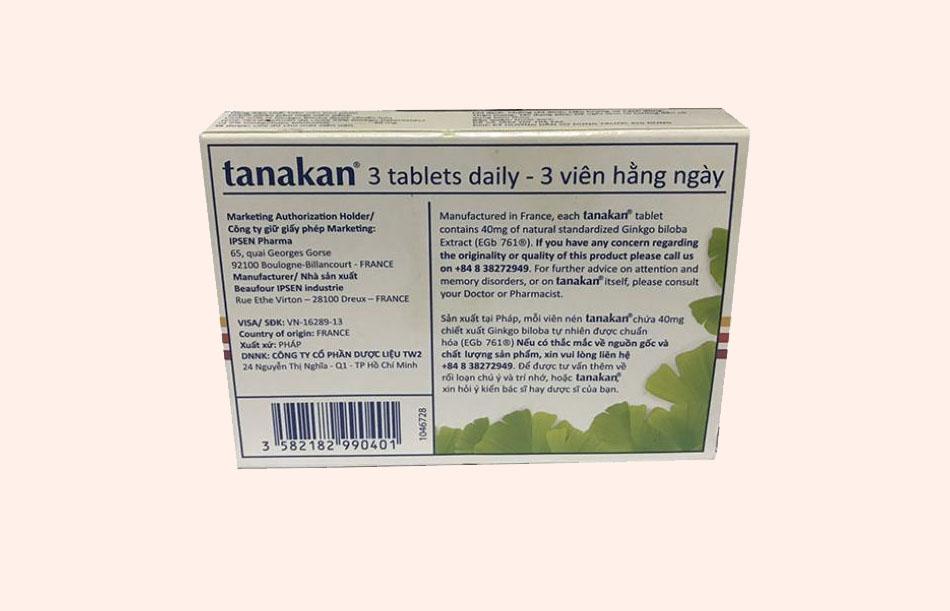 Mặt sau hộp thuốc Tanakan