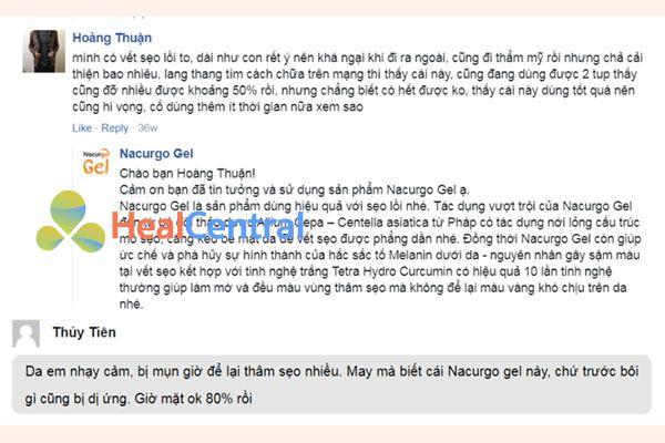Review của một số khách hàng về Nacurgo Gel
