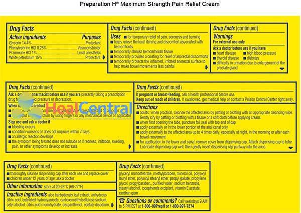 Thành phần của thuốc Preparation H cream