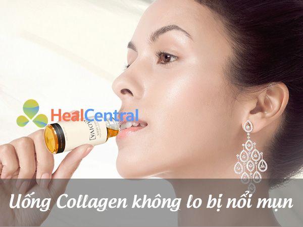 Uống collagen không lo bị nổi mụn