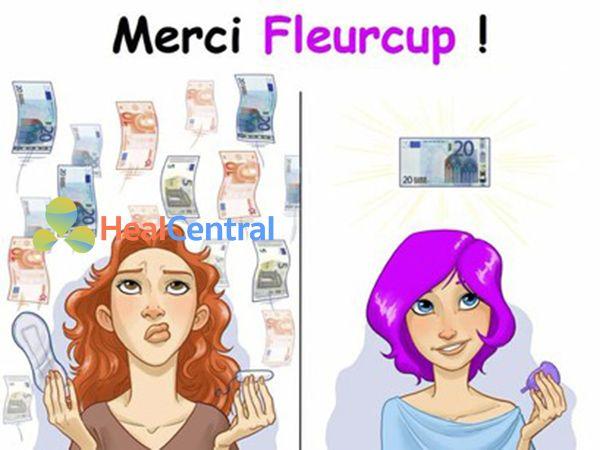 Ưu điểm của Cốc nguyệt san Fleurcup là giúp các chị em tiết kiệm được rất nhiều