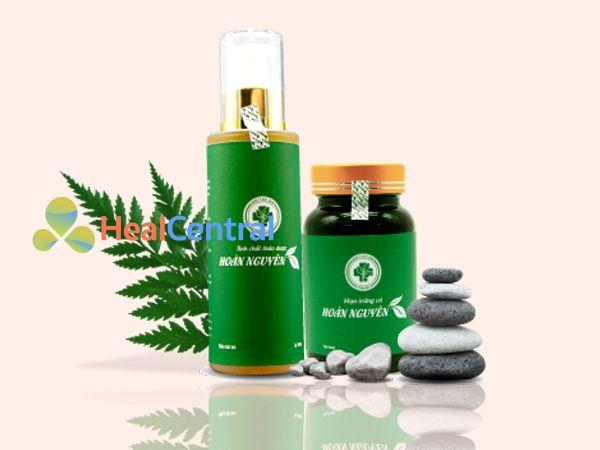 Bộ sản phẩm trị mụn Hoàn Nguyên xanh lá