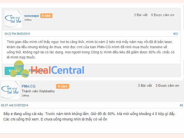 Review Transino White C từ người dùng trên Webtretho