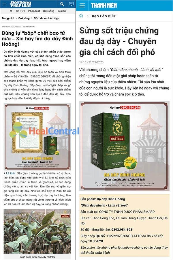 Hàng loạt các tờ báo lớn đưa tin về Dạ dày Đinh Hoàng