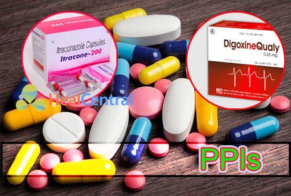 ảnh hưởng của thuốc PPIs làm giảm hấp thu Itraconazole và tăng hấp thu digoxin
