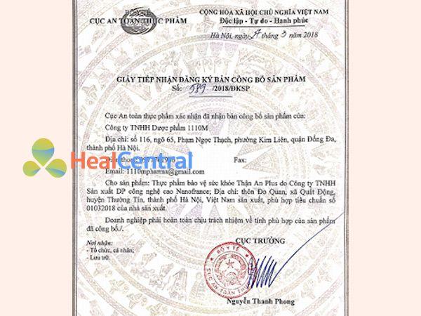 Thận An Plus được Bộ Y Tế chứng nhận an toàn thực phẩm và cấp giấy lưu hành trên toàn quốc.