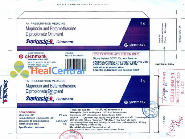 Thuốc Supirocin-B được Bộ Y tế cấp phép lưu hành trên toàn quốc