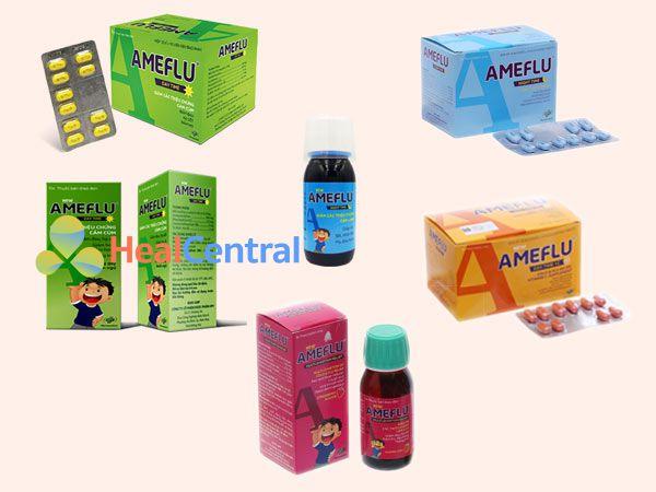 Các dạng thuốc của Ameflu: dạng viên uống và dạng siro