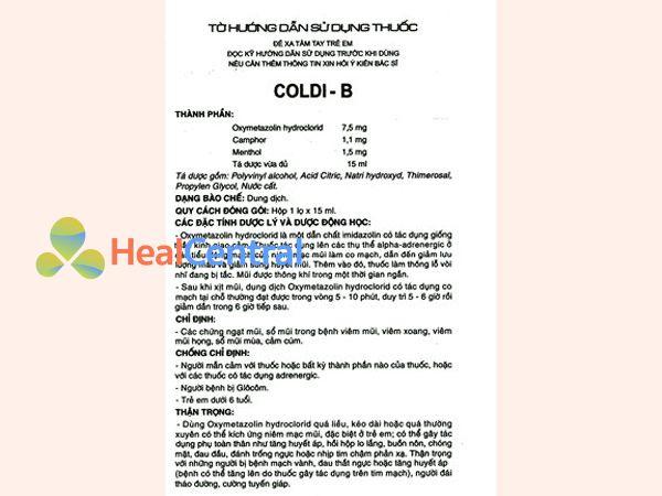 Hướng dẫn sử dụng thuốc Coldi B