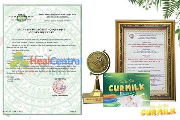 Cốm lợi sữa Curmilk được Bộ Y Tế chứng nhận về độ an toàn cho mẹ và bé
