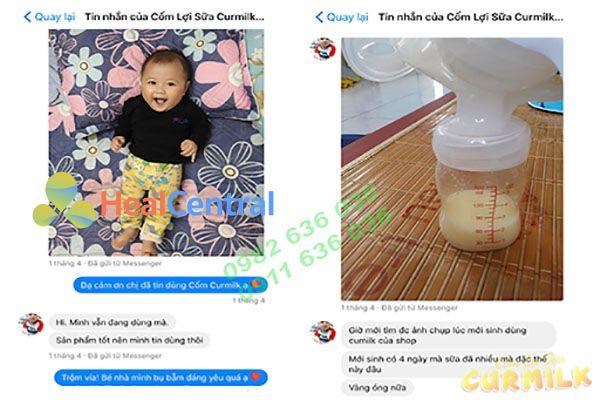 Feeback trên facebook của các mẹ sau khi cho dùng Curmilk