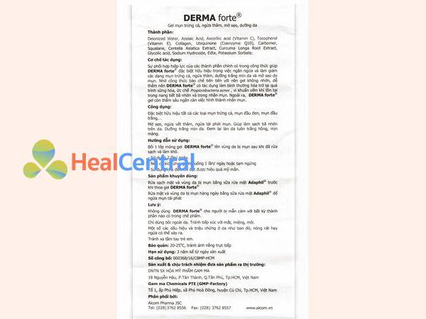 Hướng dẫn sử dụng Kem trị mụn Derma Forte