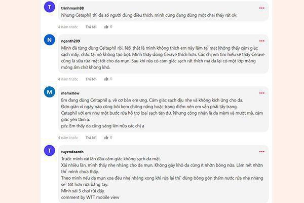 Một số review của người dùng sữa rửa mặt Cetaphil trên Webtretho