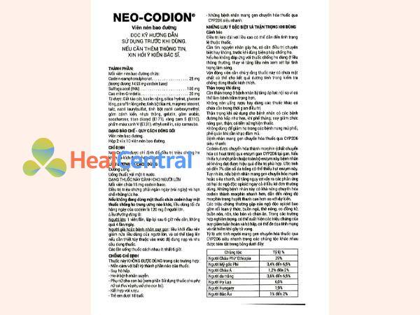 Tờ hướng dẫn sử dụng thuốc Neo Codion
