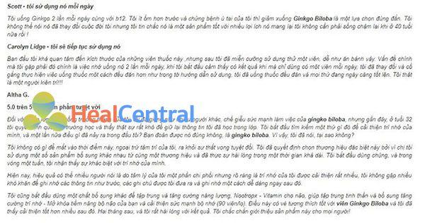 Review về các sản phẩm Ginkgo Biloba