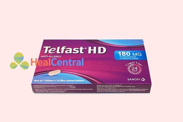 Hình ảnh: hộp thuốc chống dị ứng Telfast hàm lượng 180mg