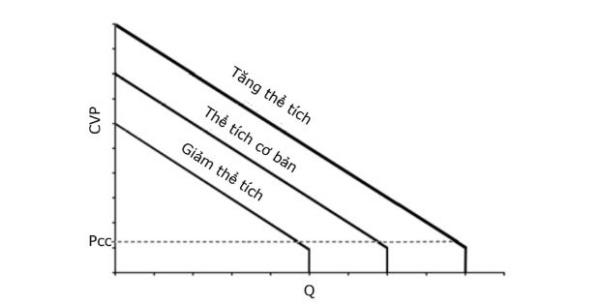 Hình 1. Các đường cong ở các thể tích nội mạch khác nhau.