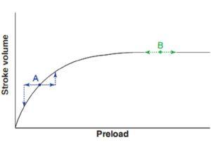 Hình 10.1 Đường cong Frank-Starling. Một bệnh nhân tại điểm A thuộc nhóm nhạy cảm tiền tải, những thay đổi nhỏ trong tiền tải dẫn đến những thay đổi đáng kể về thể tích nhát bóp. Một bệnh nhân tại điểm B thuộc nhóm không nhạy cảm tiền tải, những thay đổi trong , tiền tải không ảnh hưởng đáng kể đến thể tích nhát bóp.
