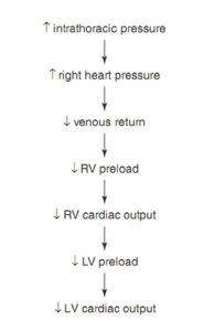 Hình 10.2 Tăng áp lực trong lồng ngực làm giảm tiền tải. RV: tâm thất phải; LV: tâm thất trái