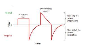 Hình 2.5 Dạng sóng lưu lượng hằng định và giảm tốc. Lưu lượng được vẽ trên trục dọc (y) và thời gian được vẽ trên trục ngang (x). Lưu lượng đi vào bệnh nhân (hít vào) được biểu thị là lưu lượng dương (phía trên trục hoành), trong khi lưu lượng ra khỏi bệnh nhân (thở ra) được biểu thị là lưu lượng âm (phía dưới trục hoành).