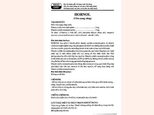 Tờ hướng dẫn sử dụng thuốc Hornol