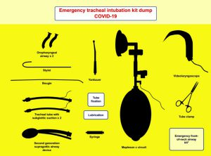 """Hình 5. Ví dụ về """"kit dump mat"""". Bộ dụng cụ """"đường thở cổ trước"""" khẩn cấp có thể được loại trừ khỏi bộ chứa bộ dụng cụ đường thở do nguy cơ nhiễm bẩn và có thể được đặt bên ngoài phòng với khả năng tiếp cận ngay lập tức nếu cần."""