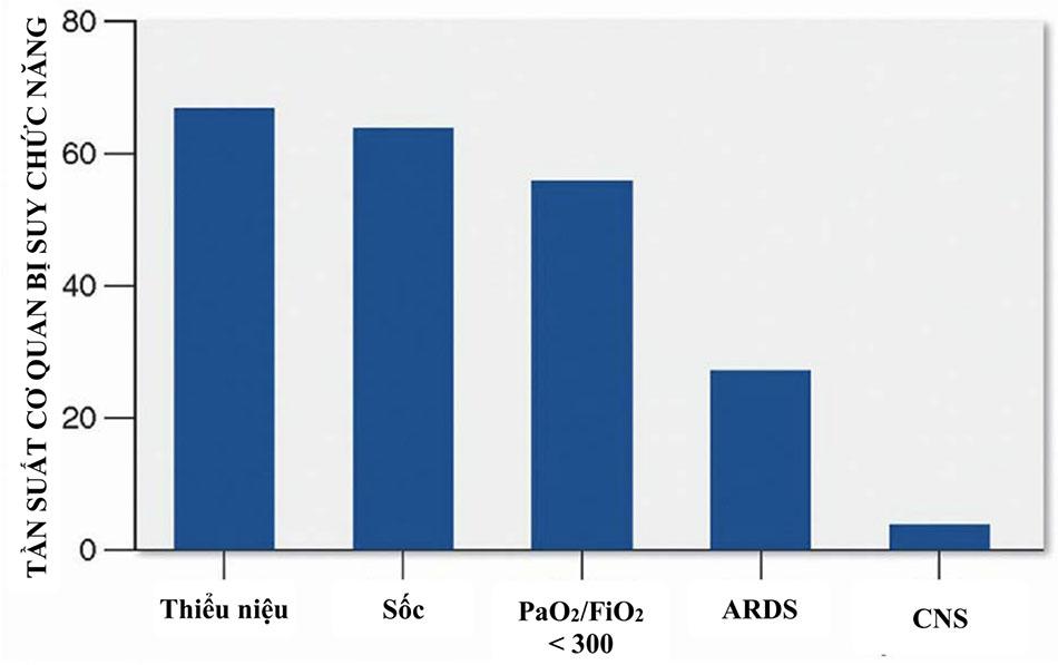Tỷ lệ hiện mắc suy cơ quan tại thời điểm chẩn đoán nhiễm khuẩn huyết nặng.