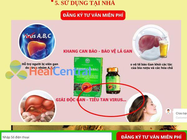 Quảng cáo gây hiểu lầm về công dụng của Khang Can Bảo