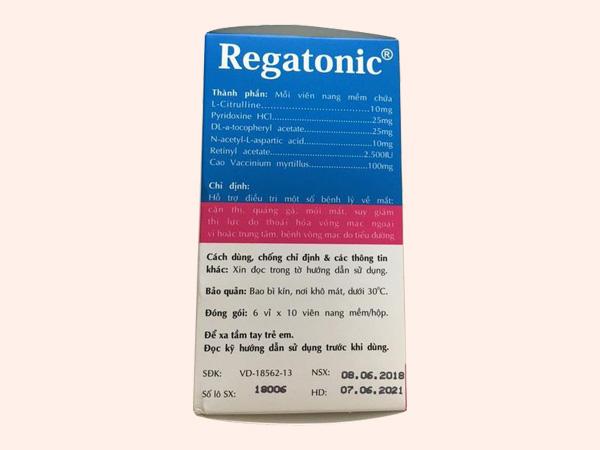 Mặt sau hộp thuốc Regatonic