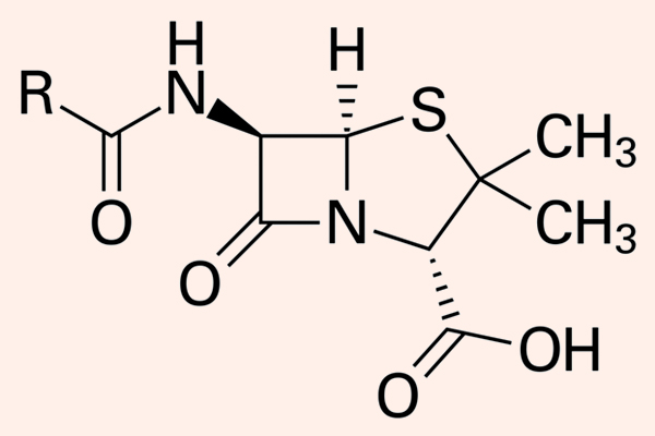 Cấu trúc khung hóa học chung của các Penicillin.