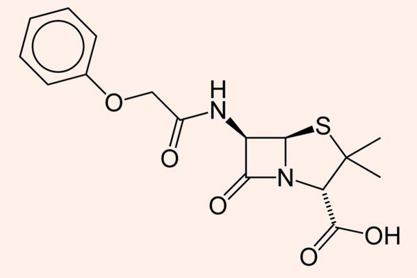 Cấu trúc hóa học của Penicillin V (Phenoxypenicillin).