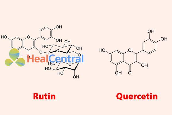 Công thức hóa học của Rutin và Quercetin