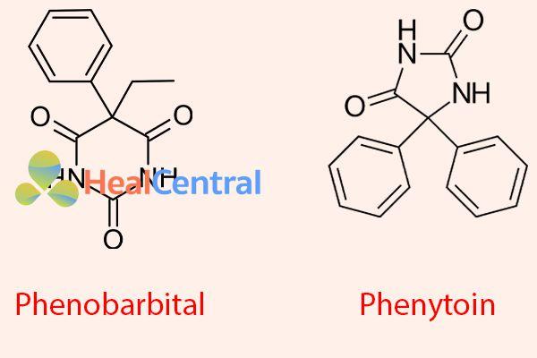 Công thức hóa học của Phenytoin và phenobarbital