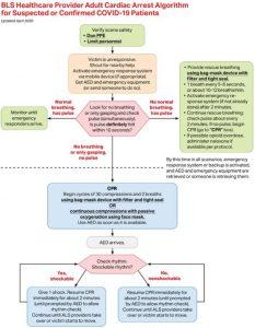 Hình 2. Thuật toán hỗ trợ cuộc sống cơ bản ngừng tim ở người lớn dành cho nhân viên y tế cho bệnh nhân bị nghi ngờ hoặc xác nhận mắc bệnh coronavirus 2019 (COVID-19).