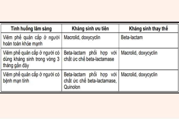 Bảng: Lựa chọn kháng sinh điều trị kinh nghiệm trong viêm phế quản cấp do vi khuẩn.