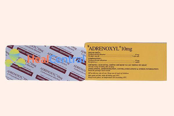 Mặt sau hộp thuốc Adrenoxyl