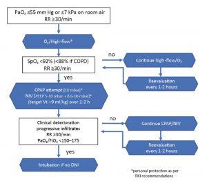 Hình 2. Các lựa chọn hỗ trợ hô hấp trong suy hô hấp cấp tính liên quan đến COVID-19.