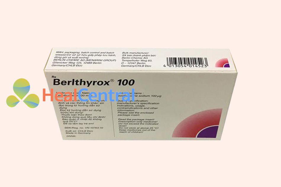 Thuốc Berlthyrox 100 bào chế dạng viên nén