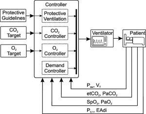 Hình 4. Kiểm soát cấu trúc liên kết để thông khí vòng kín sinh lý hoàn toàn tự động. Các tín hiệu đo được đưa trở lại bộ kiểm soát được phân loại theo mục tiêu kiểm soát. Danh sách các phép đo sinh lý không đầy đủ nhưng chỉ hiển thị các ví dụ được lấy từ các hệ thống PCLC được trình bày