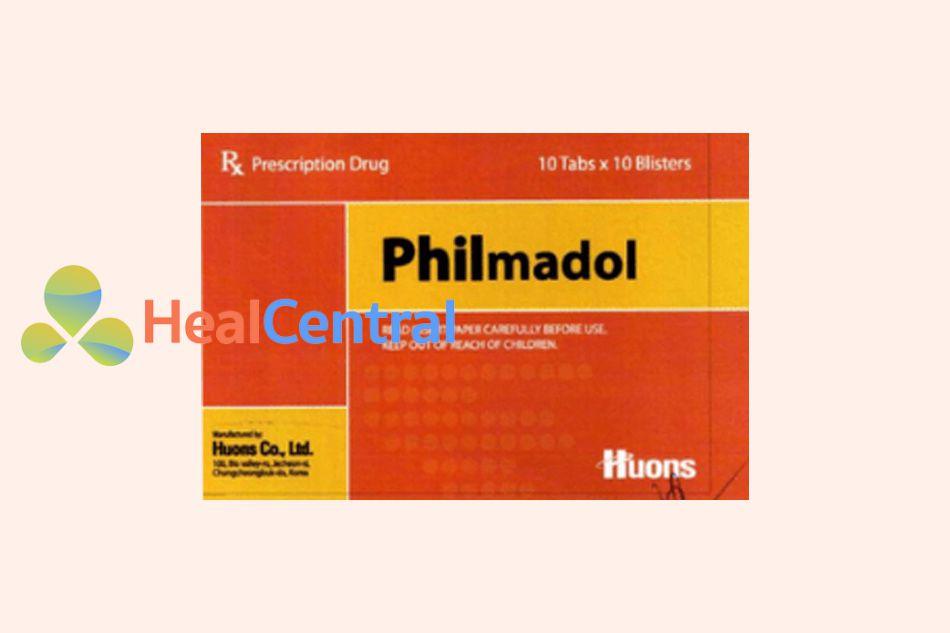 Mặt trước hộp thuốc Philmadol