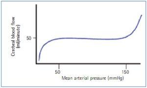 Hình 2. Mối quan hệ giữa áp lực động mạch trung bình và lưu lượng máu não (Bersten và Soni, 2003).
